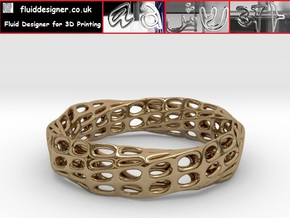 Mobius Band Bi-Organic Bracelet 65mm in Polished Brass
