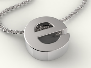 Typeberlin E Pendant in Fine Detail Polished Silver