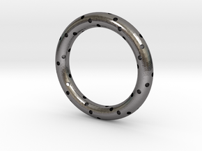 Spiral Ring in Polished Nickel Steel: 6 / 51.5