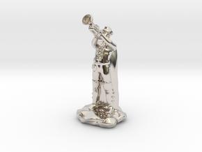 Half Elf Bard In Trilby Playing Trumpet in Platinum