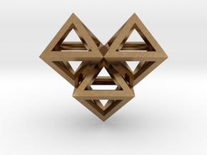 V6 Pendant. Perfect Pyramid Structure. in Natural Brass
