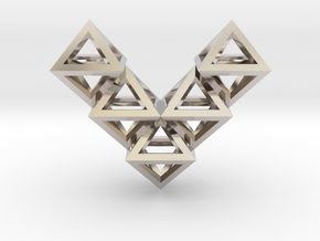 V10 Pendant. Perfect Pyramid Structure. in Rhodium Plated Brass