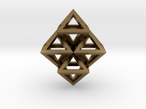 R8 Pendant. Perfect Pyramid Structure. in Natural Bronze