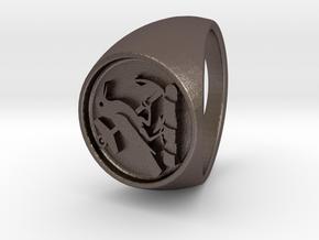 Custom Signet Ring 21 V2 in Polished Bronzed Silver Steel