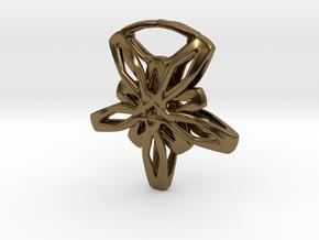Star Flower Pendant in Polished Bronze