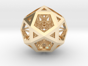 """Super IcosiDodecahedron 1.5"""" in 14K Yellow Gold"""