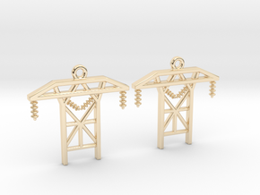 Power Tower Earrings in 14k Gold Plated Brass