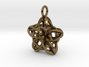 Wire Flower Pendant in Polished Bronze