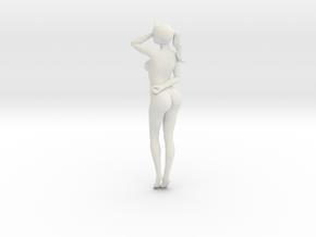 Long Ponytail Girl-021 in White Natural Versatile Plastic