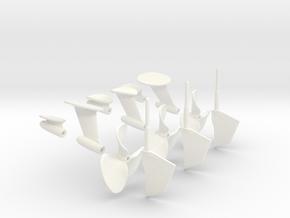 1-16 PT Elco Rudder-Propeller-Shaft Strut Set1 in White Processed Versatile Plastic