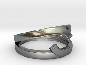 """Double Ring """"Comma"""" in Polished Silver: 12 / 66.5"""