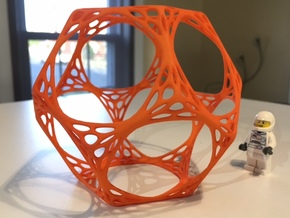 Dodecahedron Spiderweb Wireframe in Orange Strong & Flexible Polished