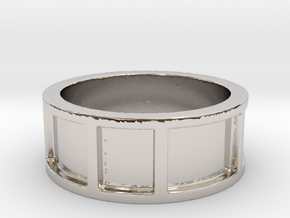 Inlay Ring Size 8 in Rhodium Plated Brass