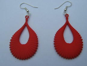 Fifty Ellipsoid Earrings in Red Processed Versatile Plastic