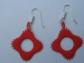 Forty Ray Sun Earrings in Red Processed Versatile Plastic