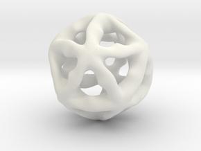Math Art - Alien Ball Pendant in White Natural Versatile Plastic