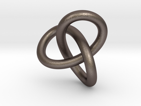Math Art - Gordian Knot  Pendant in Polished Bronzed Silver Steel
