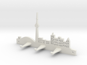 Toronto Skyline - Key Chain Holder Without Border in White Natural Versatile Plastic