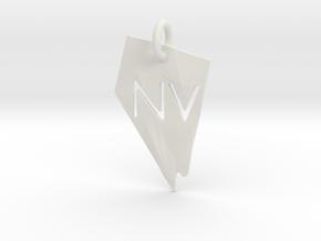 Nevada State Pendant in White Natural Versatile Plastic