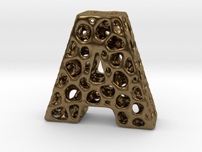 Voronoi Letter ( alphabet ) A in Natural Bronze