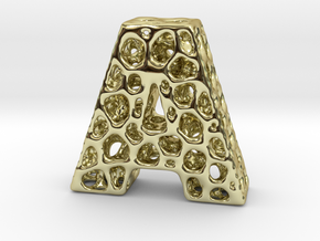 Voronoi Letter ( alphabet ) A in 18k Gold Plated Brass