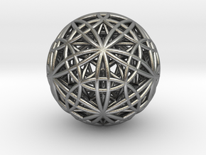 """IcosaDodecasphere w/ Icosahedron & Star Dodeca 1"""" in Natural Silver"""