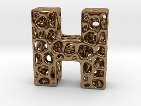 Voronoi Letter ( alphabet ) H in Natural Brass