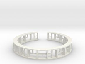 WINDOW Bracelet Medium Size D=60mm in White Natural Versatile Plastic: Medium