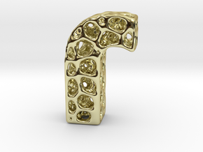 Voronoi Letter ( alphabet ) J in 18k Gold Plated Brass