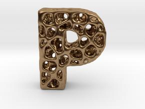 Voronoi Letter ( alphabet ) P in Natural Brass