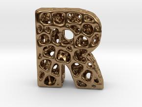 Voronoi Letter ( alphabet ) R in Natural Brass