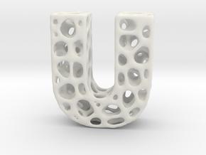 Voronoi Letter ( alphabet ) U in White Natural Versatile Plastic