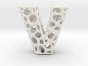 Voronoi Letter ( alphabet ) V in White Strong & Flexible