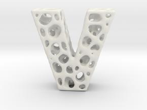 Voronoi Letter ( alphabet ) V in White Natural Versatile Plastic