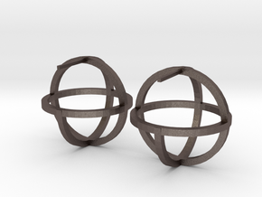Circles Earring in Polished Bronzed Silver Steel