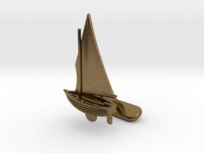 Small Sailing Boat Cufflink II in Natural Bronze