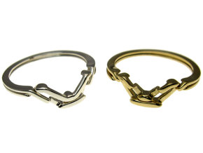 Fall Apart Ring metal in Polished Brass (Interlocking Parts)