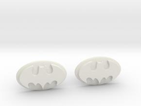 Batman Cufflinks in White Natural Versatile Plastic