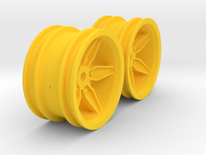 M-Chassis Wheels - Coffin Spokes - +3mm Offset in Yellow Processed Versatile Plastic