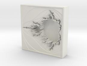 Mandelbrot Vase 2 With Base in White Natural Versatile Plastic