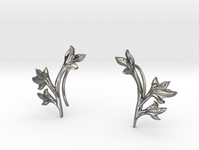 Tea Leaves Ear Climber in Polished Silver