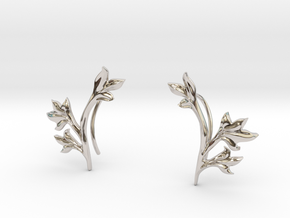 Tea Leaves Ear Climber in Rhodium Plated Brass