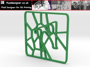 Personalised Voronoi Square Pattern Coaster (2) in Green Strong & Flexible Polished
