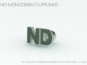 Monogram Cufflinks ND in Polished Bronzed Silver Steel