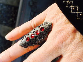BlakOpal Gothic Filligree Ring - size 8 in Polished and Bronzed Black Steel