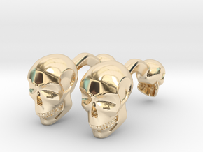 Volumatik Cufflinks Skull in 14K Yellow Gold