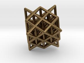 64 Tetrahedron Grid Outline Unfilled in Natural Bronze