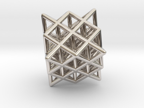 64 Tetrahedron Grid Outline Unfilled in Rhodium Plated Brass