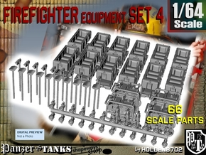 1-64 Firefighter Equipment Set 4 in Smooth Fine Detail Plastic