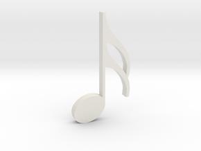 Music Pendant - Semiquaver (16th Note) in White Natural Versatile Plastic
